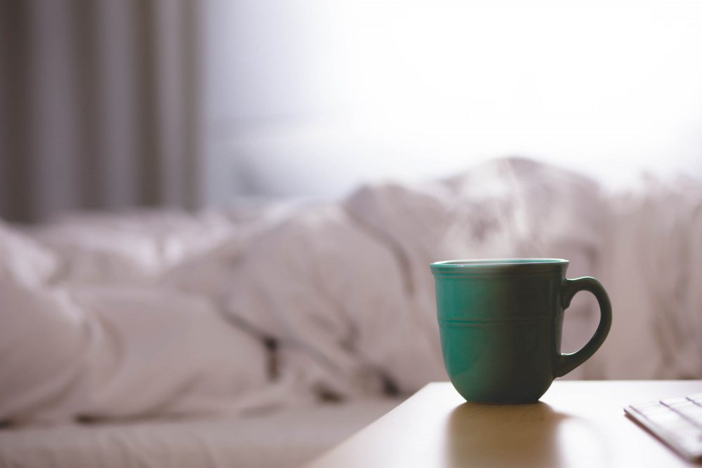Tea cup by bed